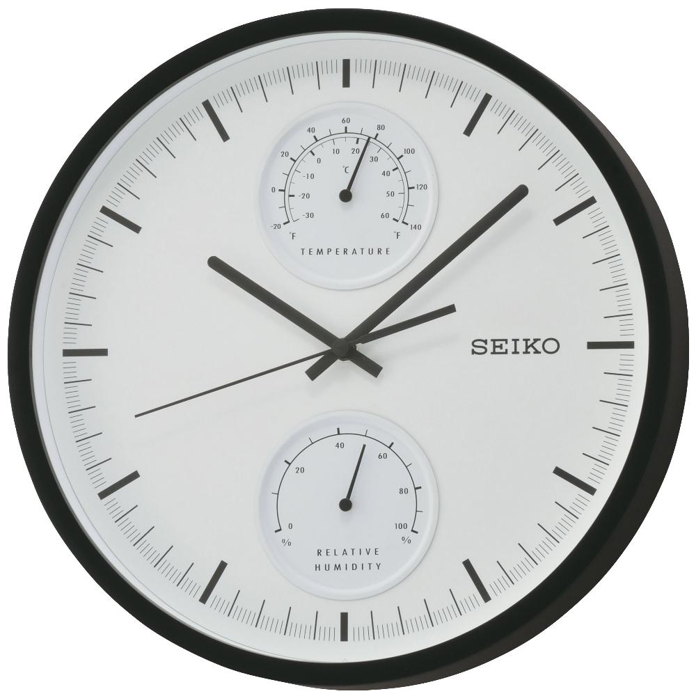 SEIKO 精工 溫度/溼度顯示 靜音掛鐘(QXA525K)-白/30.5cm