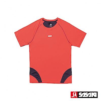 SASAKI 高彈力機能性運動緊身圓領短衫-男-艷桔/深灰