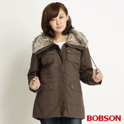 BOBSON-女款毛領軍裝鐵灰外套