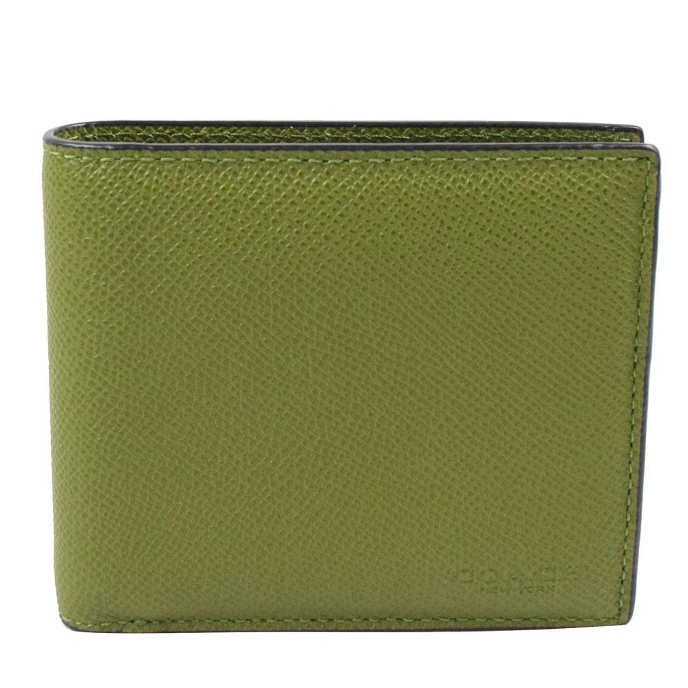 COACH  經典LOGO烙印全皮革8卡附活動夾短夾.墨綠COACH