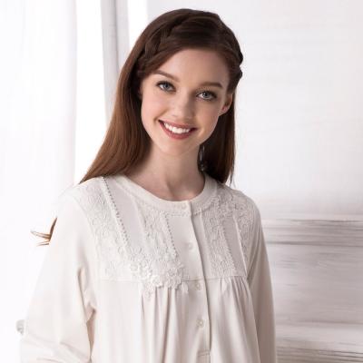 羅絲美睡衣-古典迷情浪漫長袖裙裝睡衣 (白色)