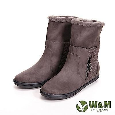 【W&M】經典毛絨十字拉鍊式中筒 女靴-灰咖(另有黑)
