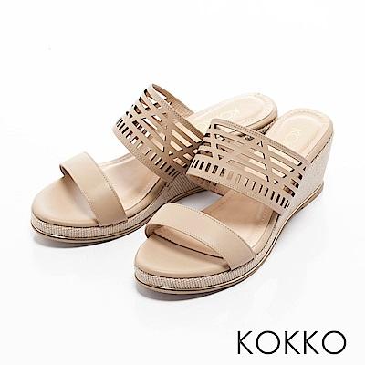 KOKKO-南國邊境真皮鏤空楔型涼拖鞋-杏裸膚