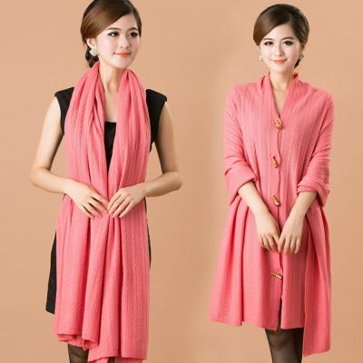 Seoul-Show-100-Cashmere羊絨多用途針織圍巾披肩斗篷-玫瑰粉