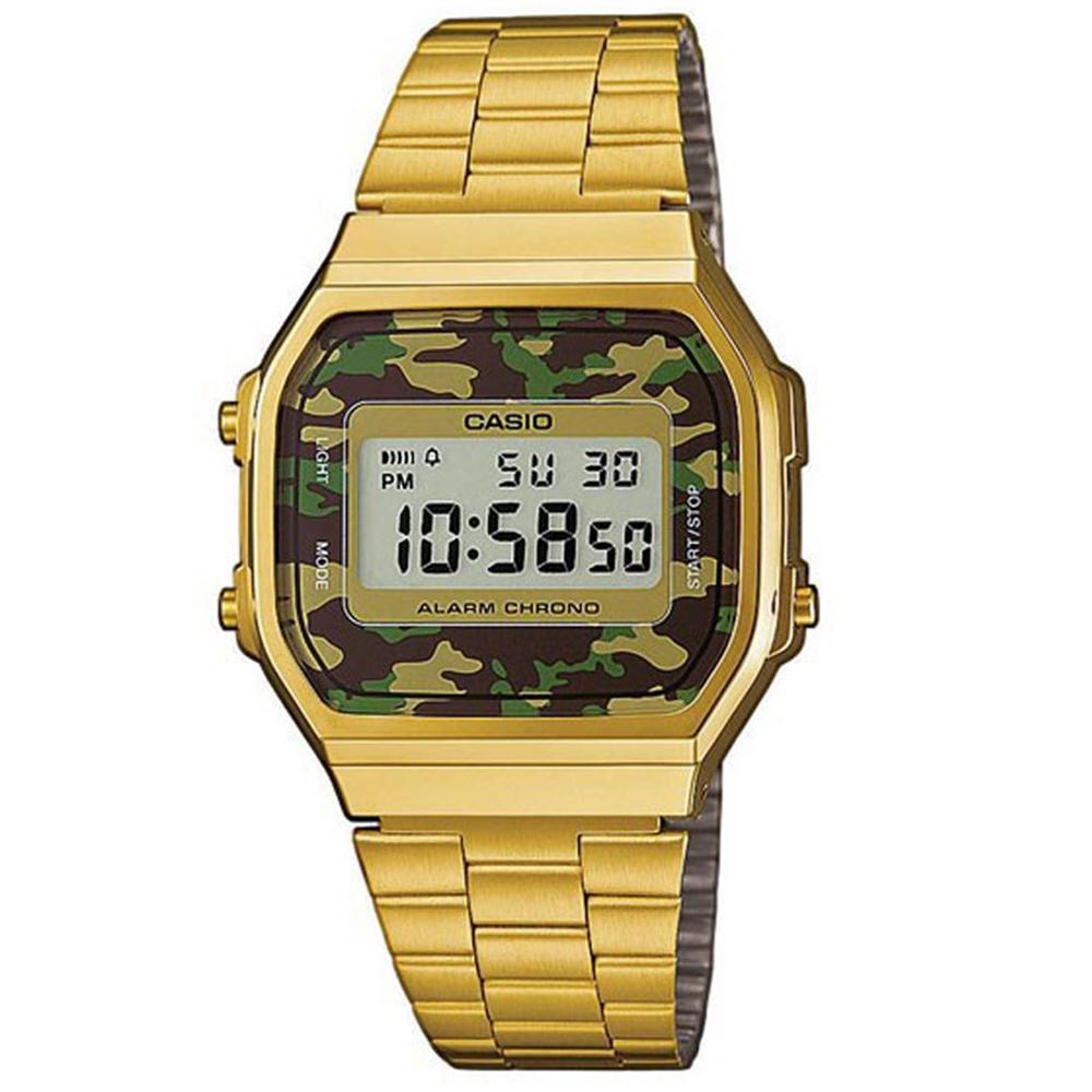 CASIO 經典時尚城市迷彩數位錶(A-168WEGC-3)-金色X迷彩綠/36.3mm