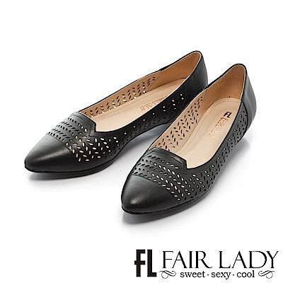Fair Lady 知性桂冠葉雕花縷空尖頭低跟鞋 黑