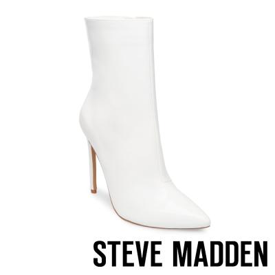 STEVE MADDEN-WAGNER 鏡面尖頭細高跟短靴-白色
