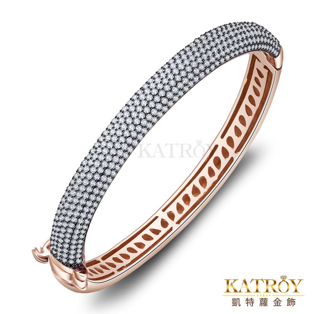 KATROY 925純銀手環鍍玫瑰金半圈滿鑽爪鑲-共7色