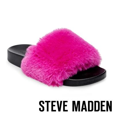 STEVE MADDEN-SOFTEY-MULTI 毛絨一字拖-螢光桃