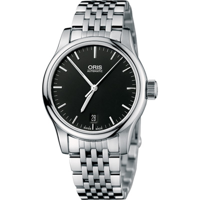 ORIS Classic 經典三針機械鋼帶腕錶-黑/36mm