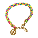 ETTIKA 美國品牌 愛和平 螢光色系 幸運編織手鍊 可調式手圍