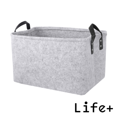 Life Plus 自然風素面毛氈收納籃/置物籃 (灰色-L)_快速到貨