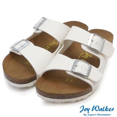 Joy Walker 金屬雙釦二條休閒拖鞋*白色