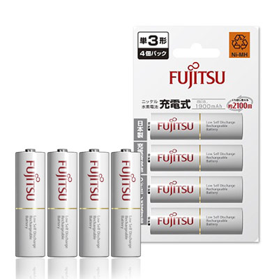 Fujitsu 低自放3號1900mAh 鎳氫充電電池(4顆入)