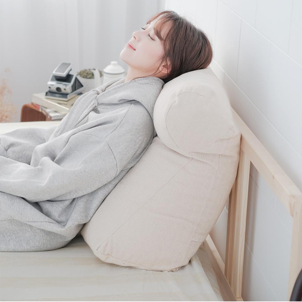 凱蕾絲帝台灣製造-多功能含枕護膝抬腿枕/加高三角靠墊-米色(2入)