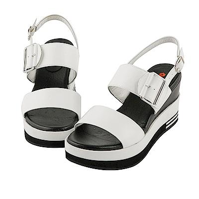 BESO 簡約玩美 全真皮寬版一字帶釦環厚底涼鞋~白