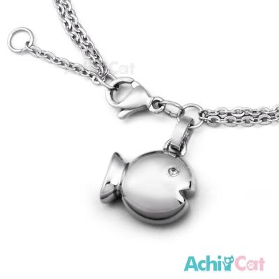 AchiCat 珠寶白鋼手鍊 悠遊小魚
