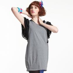 【ohoh-mini 孕婦裝】拼接一夏彈性拼雪紡長版孕婦上衣