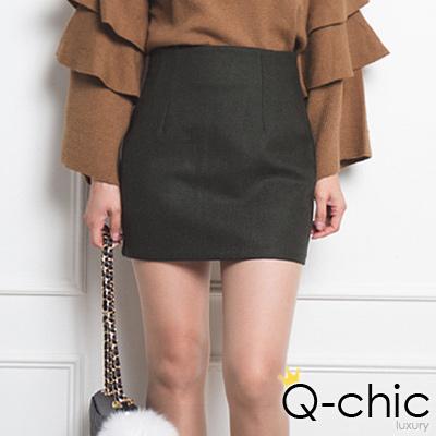 韓系簡約修身羊毛包臀窄裙 (共四色)-Q-chic