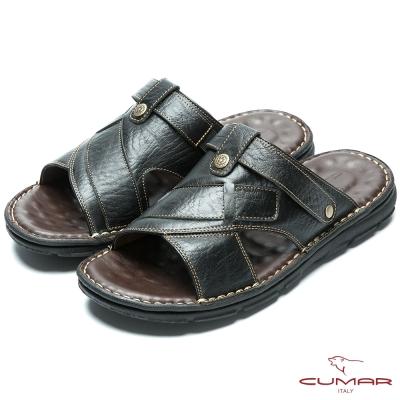 CUMAR 嚴選真皮 舒適觸感氣墊涼拖鞋-黑