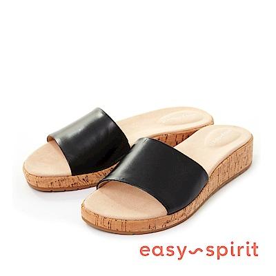 Easy Spirit--一字寬版軟木塞厚底涼拖鞋-復古黑