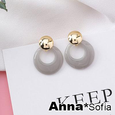 AnnaSofia 雲紋圈圓 925銀針耳針耳環(灰系)