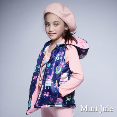 Mini Jule 童裝-鋪棉背心 搖粒絨動物口袋拉鍊連帽背心(丈青)