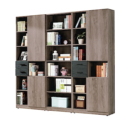 品家居 布蓮娜7.1尺橡木紋書櫃組合-212.5x32x200cm免組