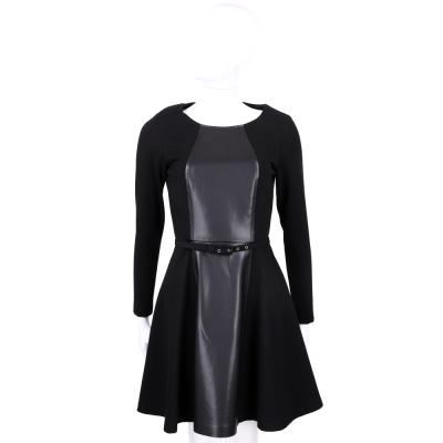 MAX MARA-MAX&CO 黑色仿皮拼接設計長袖洋裝(附腰帶)