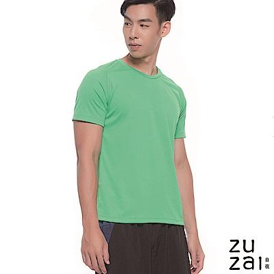 zuzai 自在輕感瞬乾 圓領排汗衫-男-綠色