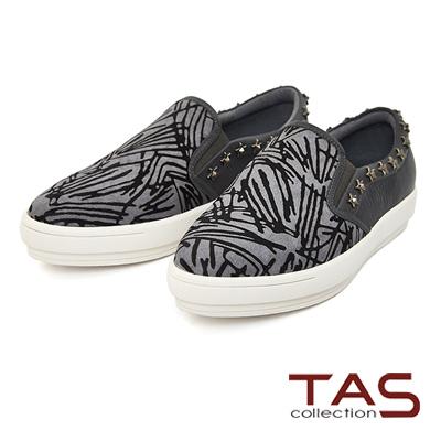 TAS-不規則條紋馬毛星星鉚釘懶人鞋-低調灰