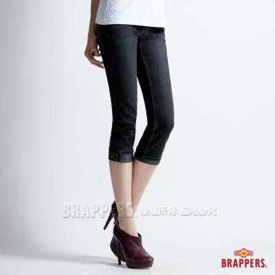 BRAPPERS 新美腳Royal系列-女用彈性鑲鑽七分反摺褲-黑