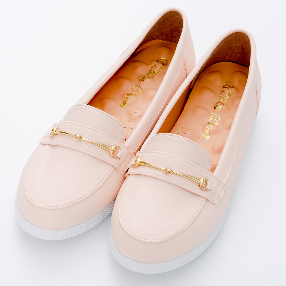 River&Moon莫卡辛-台灣製一字金鍊厚乳膠樂福膠底鞋-粉皮