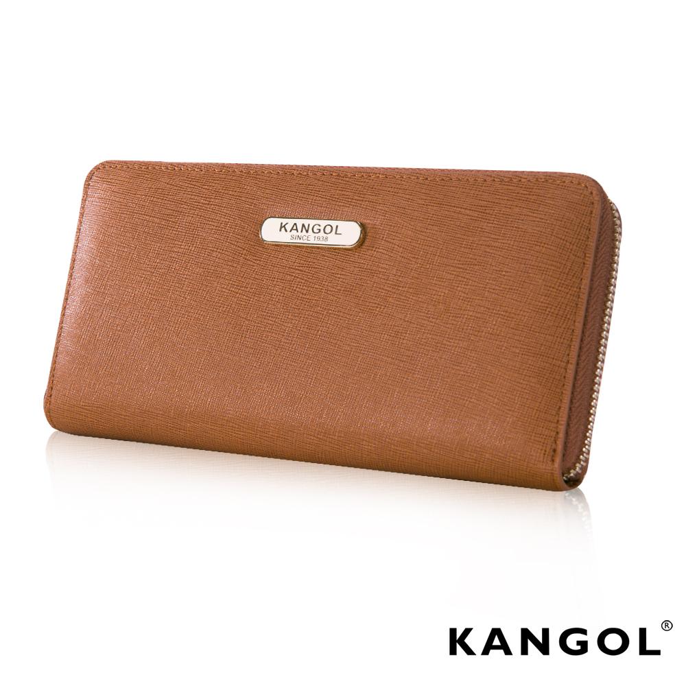 KANGOL英國袋鼠優雅經典風華拉鍊長夾十字紋頭層皮設計-咖啡