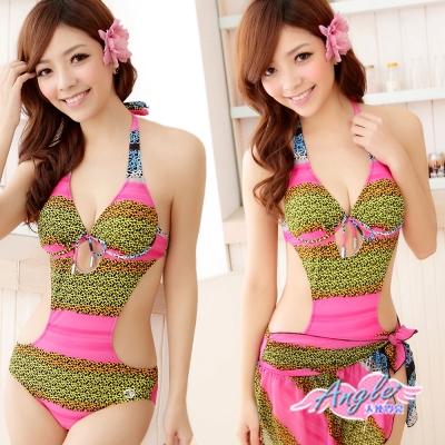 天使霓裳 Summer腳步 兩件式連身裙泳裝 泳衣(粉M~XL)