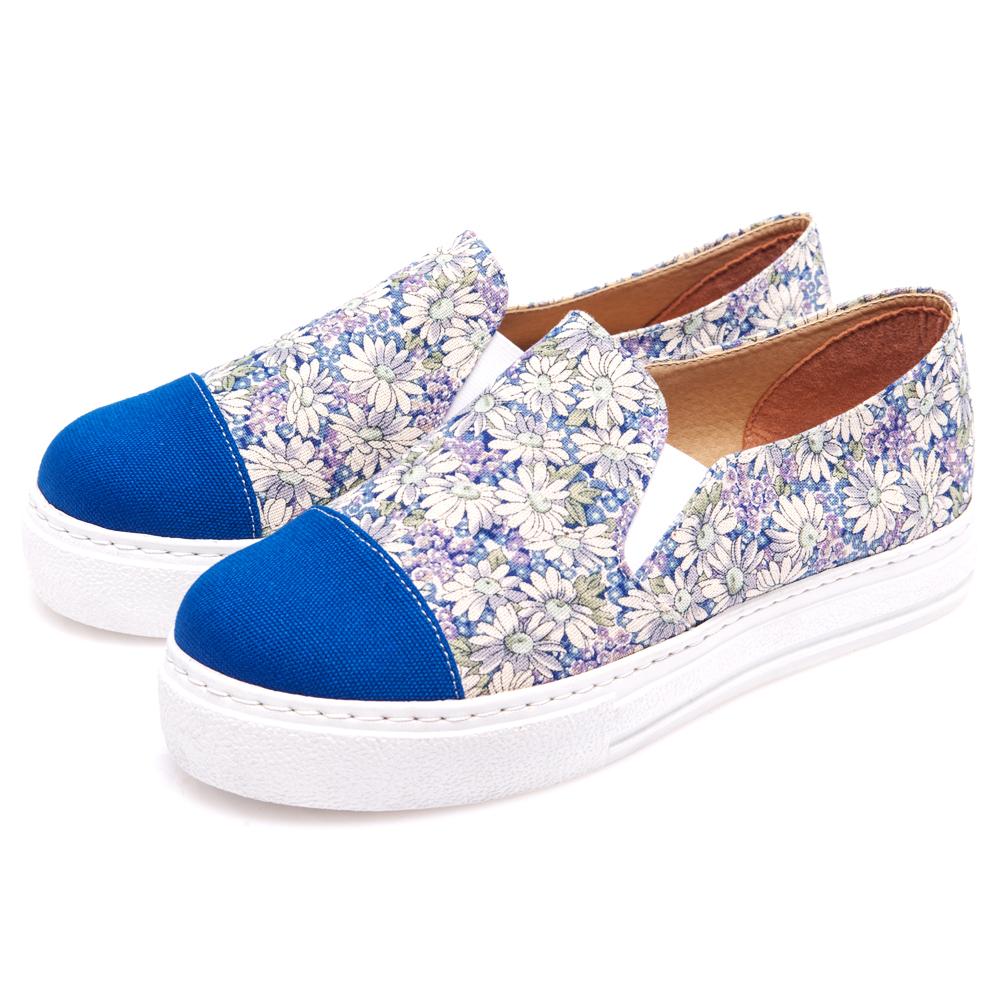 G.Ms. MIT系列-銷日款帆布印花懶人休閒鞋-碎花藍