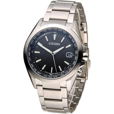 CITIZEN 星辰 五局電波光動能鈦金屬腕錶(CB1070-56E)-黑/42mm