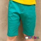 PUKU藍色企鵝 素面休閒拉鍊式窄管五分褲