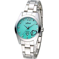 STAR 時代 甜蜜雙心石英錶-綠x銀色/33mm
