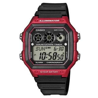 CASIO 10年電力亮眼設計方形數位錶(AE-1300WH-4A)-紅框x黑錶圈/42mm