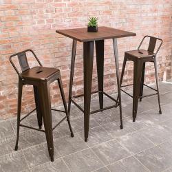 Bernice-艾客2尺工業風實木鐵腳高吧台桌椅組合(一桌二