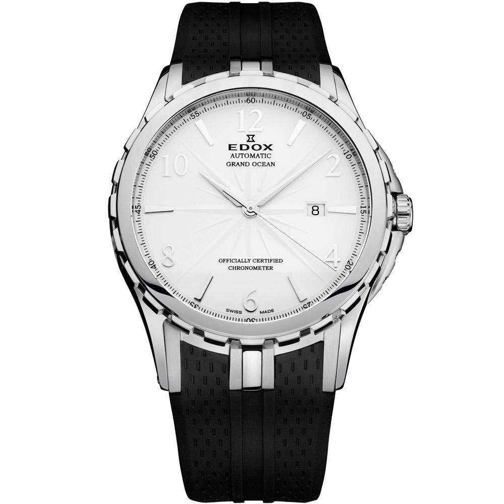 EDOX Grand Ocean COSC天文台認證機械腕錶-白/45mm