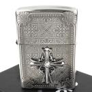 ZIPPO 日系~Cross Metal -十字鑲鑽金屬貼飾蝕刻加工打火機