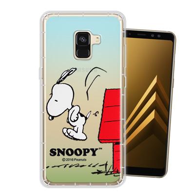 史努比正版授權 Samsung Galaxy A8+ (2018) 漸層空壓手機...