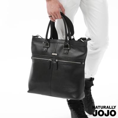 NATURALLY JOJO 中性雙拉鍊手提包 (黑)