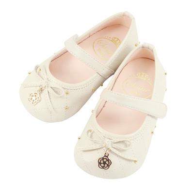Swan天鵝童鞋-小圓珠菱格紋學步娃娃鞋 1469-米
