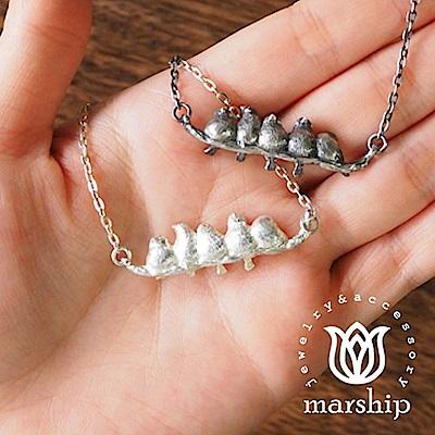 Marship 日本銀飾品牌 文鳥項鍊 成群結隊款 925純銀 亮銀款