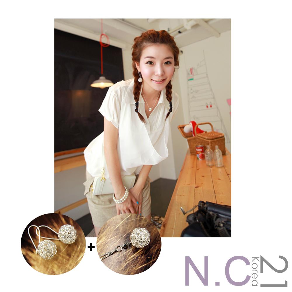 【N.C21】纏繞線條球體項鍊耳環組 (銀色)