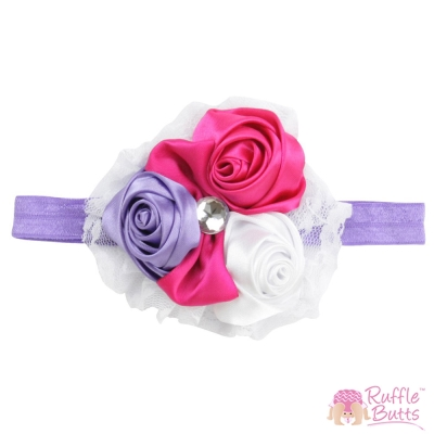RuffleButts 紫色玫瑰髮帶