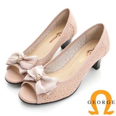 GEORGE喬治-婚鞋系列 真皮鏤空魚口中跟鞋(女)-粉色